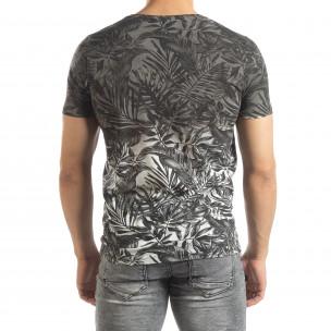Ανδρική γκρι κοντομάνικη μπλούζα Leaves μοτίβο  2