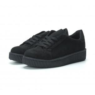Γυναικεία μαύρα sneakers από οικολογικό σουέτ 2