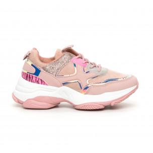Γυναικεία Chunky αθλητικά παπούτσια ροζ με λεπτομέρειες Mix