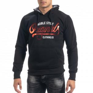 Ανδρικό μαύρο φούτερ hoodie με πριντ Originals