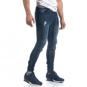 Ανδρικό μπλε τζιν με λάστιχο στην μέση Skinny fit  2