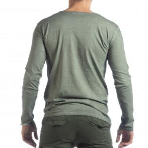 Ανδρική πράσινη μπλούζα Vintage στυλ  2