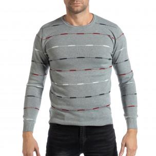 Ανδρικό γκρι πουλόβερ με πολύχρωμο ριγέ