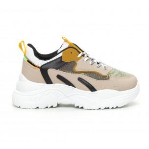 Γυναικεία Chunky αθλητικά παπούτσια με κίτρινες λεπτομέρειες