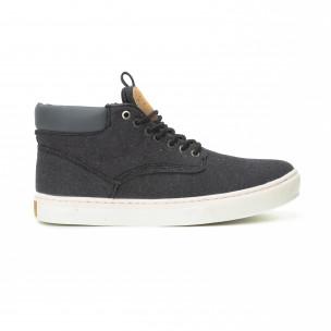 Ανδρικά μαύρα υφασμάτινα sneakers με δερμάτινη λεπτομέρεια