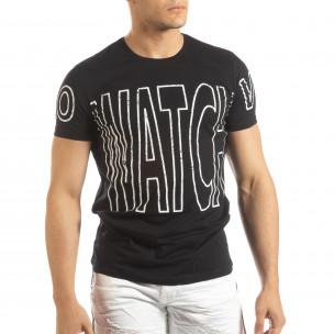 Ανδρική μαύρη κοντομάνικη μπλούζα με πριντ Watch