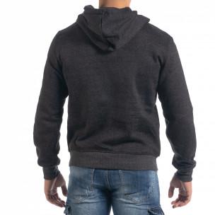 Ανδρικό μαύρο μελάνζ φούτερ California με τσέπη καγκουρό 2