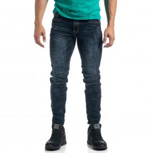 Ανδρικό μπλε τζιν με λεπτομέρειες Slim fit  2