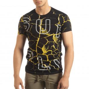 Ανδρική μαύρη- κίτρινη κοντομάνικη μπλούζα Supple 2