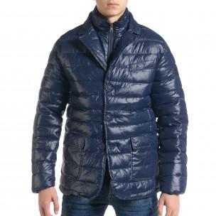Ανδρικό μπλέ χειμωνιάτικο μπουφάν τύπου blazer