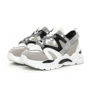 Γυναικεία γκρι Chunky αθλητικά παπούτσια  2