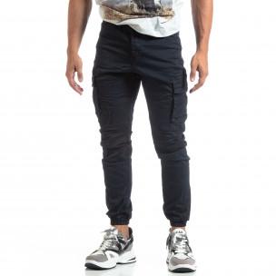 Ανδρικό μπλε παντελόνι σε ροκ στυλ με Cargo τσέπες  2
