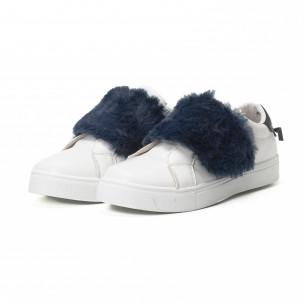 Γυναικεία λευκά Slip-on sneakers με μπλε λεπτομέρειες 2