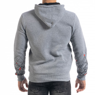 Ανδρικό γκρι φούτερ hoodie με πριντ  2