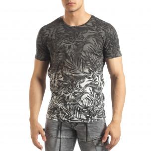 Ανδρική γκρι κοντομάνικη μπλούζα Leaves μοτίβο