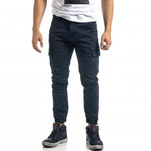 Ανδρικό γκρι cargo παντελόνι με φερμουάρ 2