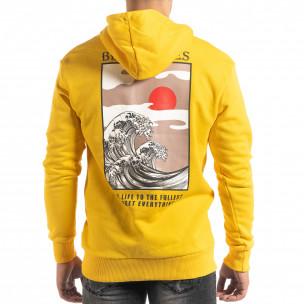 Βαμβακερό φούτερ κίτρινο με πριντ στην πλάτη  2