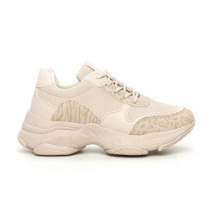 Γυναικεία μπεζ αθλητικά παπούτσια με χοντρή σόλα