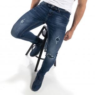 Ανδρικό μπλε τζιν με λεπτομέρειες από μπαλώματα Slim fit