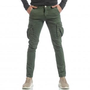 Ανδρικό πράσινο παντελόνι με cargo τσέπες  2