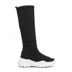 Γυναικείες μαύρες μπότες τύπου κάλτσα με λευκή σόλα