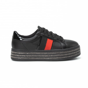 Γυναικεία μαύρα sneakers με στρασάκια και πλατφόρμα