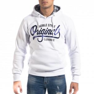 Ανδρικό λευκό φούτερ hoodie με πριντ Originals