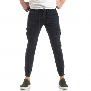 Ανδρικό σκούρο μπλε παντελόνι cargo με κορδόνια  2