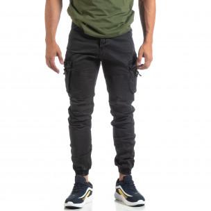Ανδρικό μαύρο παντελόνι με φερμουάρ στις τσέπες  2