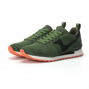 Ανδρικά πράσινα αθλητικά πλεκτά παπούτσια με πορτοκαλί σόλα  2