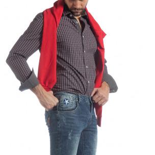 Ανδρικό μπλε καρέ βαμβακερό πουκάμισο Slim fit