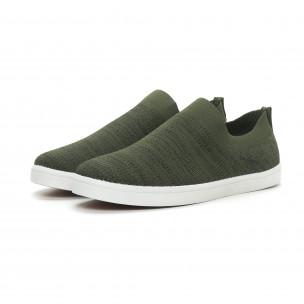 Ανδρικά πράσινα μελάνζ sneakers κάλτσα  2