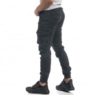 Ανδρικό γκρι παντελόνι cargo με φλις 2