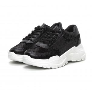 Γυναικεία μαύρα Chunky αθλητικά παπούτσια με παγιέτες  2