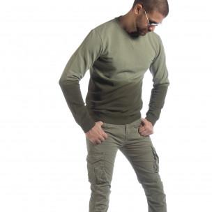 Ανδρική πράσινη μπλούζα με επένδυση