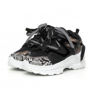 Γυναικεία μαύρα Chunky αθλητικά παπούτσια με λεπτομέρειες από λουστρίνι Yes Bonbon 2