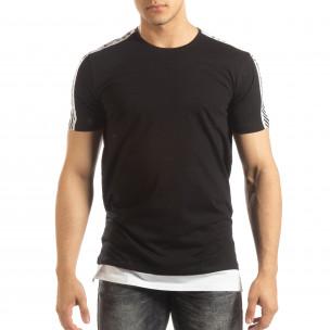 Ανδρική μαύρη κοντομάνικη μπλούζα με λευκές λεπτομέρειες  2