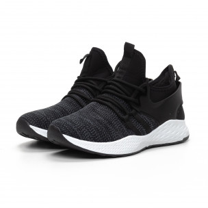 Ανδρικά μαύρα μελάνζ αθλητικά παπούτσια με νεοπρέν  2