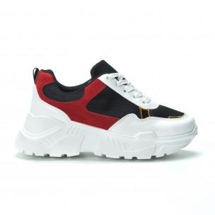 Γυναικεία κόκκινα- μαύρα sneakers με πλατφόρμα