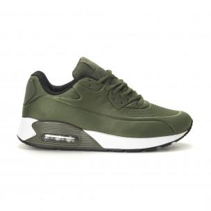 Ανδρικά military πράσινα αθλητικά παπούτσια με αερόσολα
