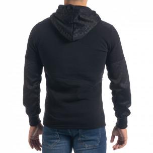 Ανδρικό μαύρο φούτερ Slim fit με κουκούλα  2