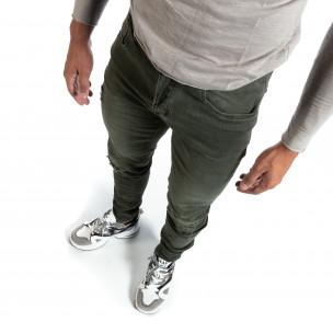 Slim fit ανδρικό πράσινο τζιν με σκισίματα