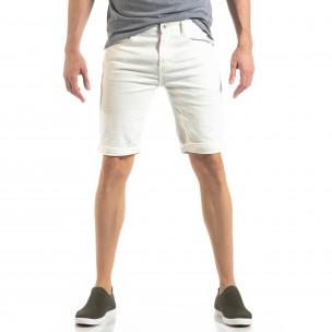 Ανδρική λευκή τζιν βερμούδα Basic μοντέλο