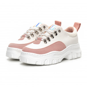 Γυναικεία Chunky αθλητικά παπούτσια σε λευκό και ροζ  2