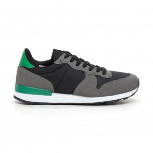 Ανδρικά αθλητικά παπούτσια ελαφρύ μοντέλο με πρασινή λεπτομέρεια