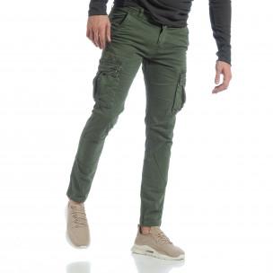 Ανδρικό πράσινο παντελόνι με cargo τσέπες