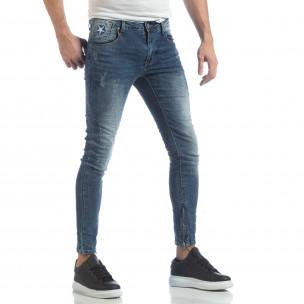 Ανδρικό γαλάζιο τζιν Slim fit με φερμουάρ 2