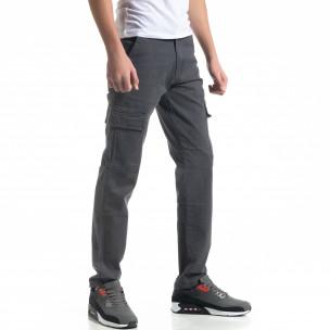 Ανδρικό γκρι cargo παντελόνι Regular fit  2