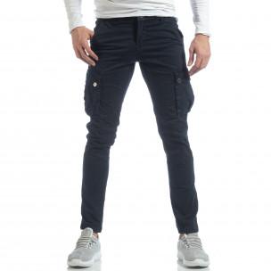 Ανδρικό μπλε παντελόνι με cargo τσέπες  2