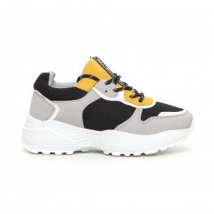 Γυναικεία αθλητικά παπούτσια σε γκρι και κίτρινο ελαφρύ μοντέλο